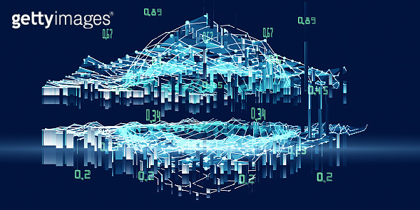 3D illustration polygonal background artificial intelligence sphere on grid data.  Analytics algorithms banner for science, technology and business. Data science. Big data. Quantum computing concept with wireframe and blured  lines. Big data.
