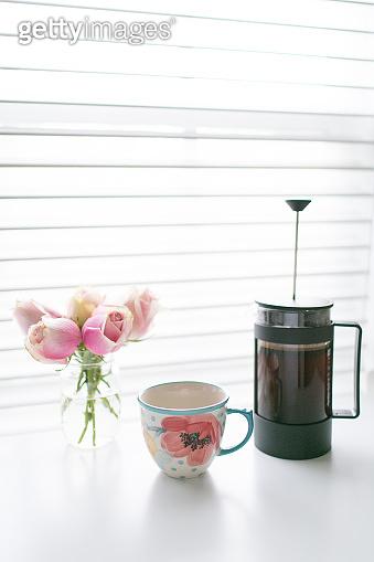 Morning French Press, Floral Mug & Pink Roses in a Vase