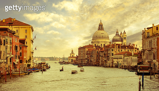 boats in the Grand Canal, Venice, Italy