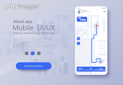 Material Design UI, UX Screen, flat web icons for mobile apps. Dashboard theme creative infographic of city map navigation. Mobile navigation. GPS navigator, route map application.