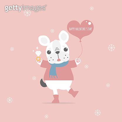 cute and lovely hand drawn cute french bulldog holding heart balloon and ring, happy valentine's day, love concept