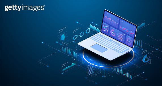 Modern flat design isometric concept of Data Analysis for website and mobile website. Data analytics for company marketing solutions or financial performance. Budget accounting or statistics concept.