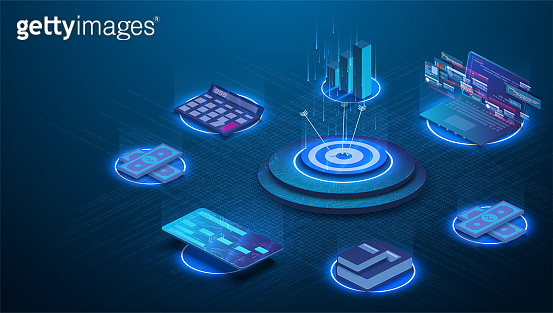 Financial business strategy management concept. Can use for web banner, infographics. Budget accounting or statistics concept. Flat isometric vector illustration isolated on blue background.