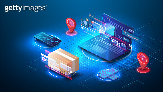 The concept of online ordering and delivery of goods from laptop. Fast response delivery package shipping on laptop. Online order tracking. E-commerce concept. Delivery service. Vector illustration