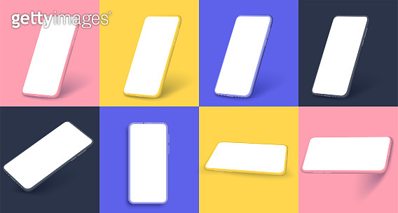 Smartphone frameless blank screen, rotated position. 3d isometric illustration cell phone. Smartphone perspective view for banner,poster,brand, template and label, packing,emblem and advertise. Vector
