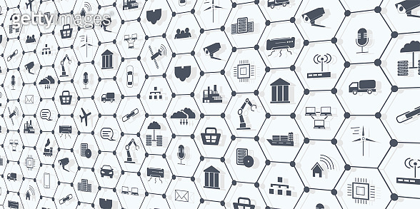 Industry 4.0, Internet of things (IoT) and networking, network connections. Web page banner template with icons.  Spider web of network connections with on a futuristic white background