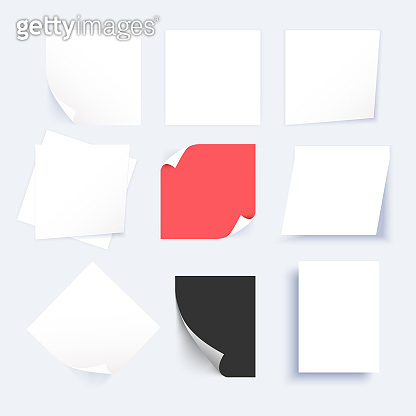 Squared sticker mockup isolated on white background. Paper grouped and layered, easy to edit and move each one in different directions. Vector illustration