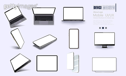 Vector minimalistic 3d isometric illustration set device. Smartphone, laptop, tablet, tv perspective view. Side and top view. Mockup generic device. Template for infographics or presentation