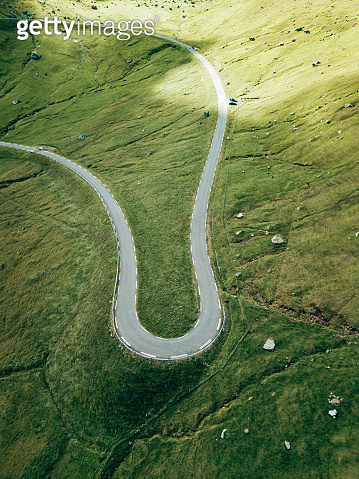 winding road at the faroe islands