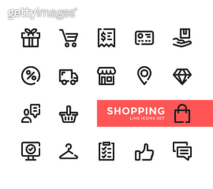 Shopping line icons set. Pixel Perfect. Modern outline symbols collection. Thin line design. Minimal style. Simple linear stroke graphic design elements. Vector line icons