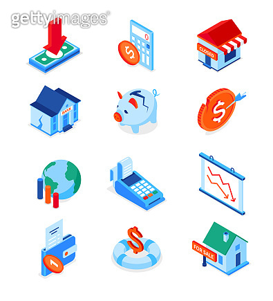 Economic crisis - modern colorful isometric icons set