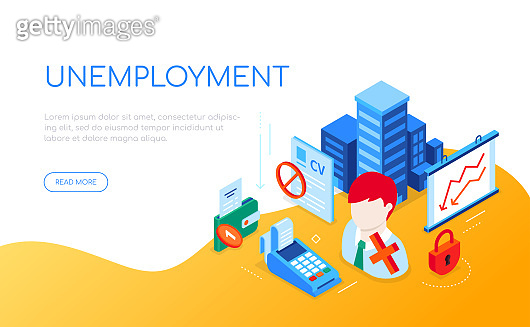 Unemployment and crisis - modern colorful isometric web banner
