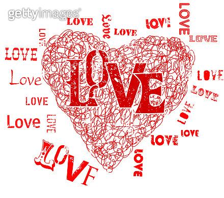 love symbol grunge style vector illustration