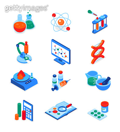 Science and medicine - modern colorful isometric icons set