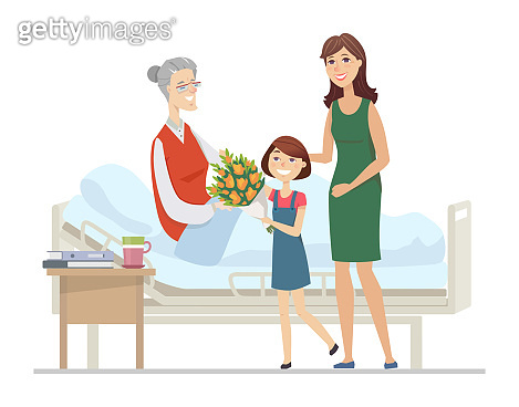 Family visiting grandmother at hospital - flat design style illustration