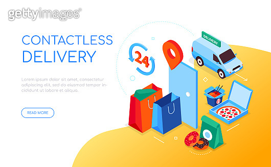 Contactless delivery - modern colorful isometric web banner