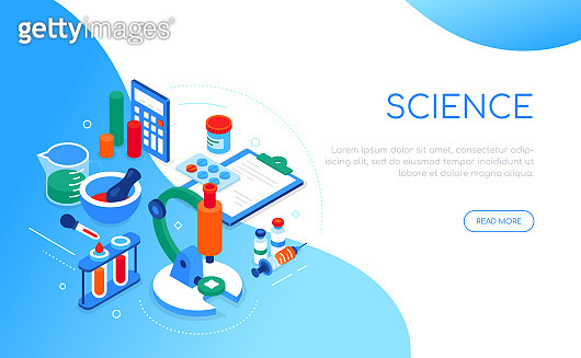 Science and medicine - modern colorful isometric web banner