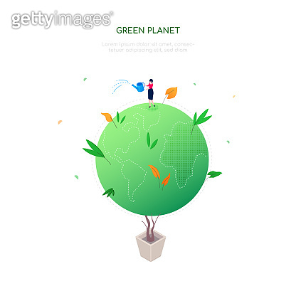 Green planet - modern colorful isometric web banner