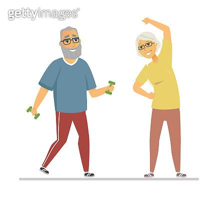 Senior people exercising - flat design style illustration