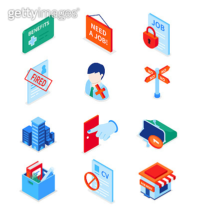 Unemployment and crisis - modern colorful isometric icons set