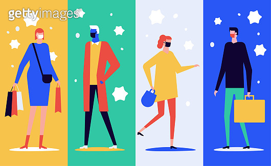 People in face masks - flat design style illustration