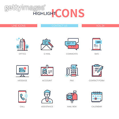 Contact us - line design style icons set