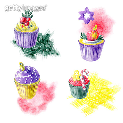 Hand painted Christmas arrangements with cupcakes, abstract spots and different decorations. Yellow, red, purple and green color palette. For templates, menu cards, invitation greeting and postcards