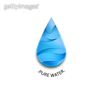 Blue Water Drop Icon with Waves. Template Vector Symbol Design. Pure Water Illustration Concept