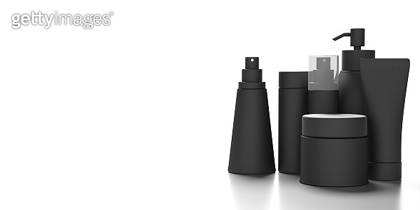 Blank cosmetics packages isolated on white background, 3d illustration