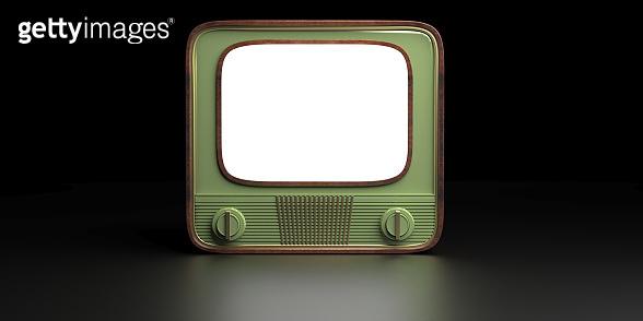 Retro old tv against black color background. 3d illustration