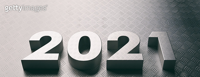 2021 new year, metal sheet letters and background. 3d illustration