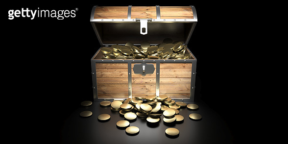 Treasure chest filled with golden coins against black background. 3d illustration