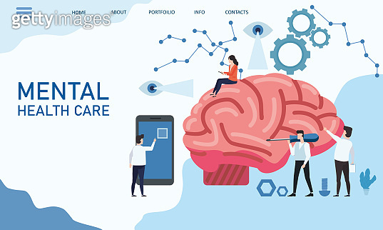 Banner for World mental health day. Doctors help the brain. Flat vector illustration.