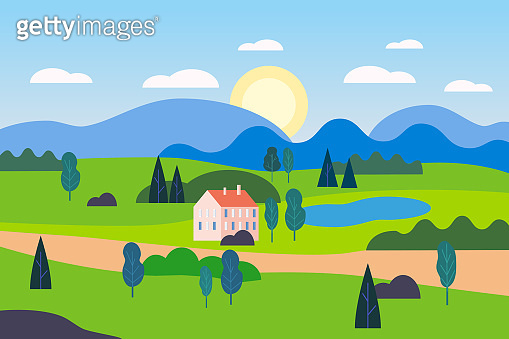 Summer countryside farm landscape green hill. Cottage nature fields mountains blue sky clouds sun countryside. Green tree and grass rural land. Flat cartoon trendy style vector illustration