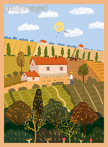 Autumn countryside landscape farm fields. Fall rural rustic view, harvest, trees, hills yellow orange foliage. Vector illustration isolated poster banner card cover