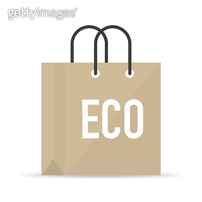Fabric bag with eco symbol on it, flat design style. Vector illustration.