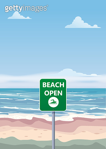 Summer beach banner Open. Seascape ocean shore tropical flora palms. Opening season vacation. Vector illustration isolated