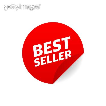 Vintage icon with red sticker best seller on white background for banner design. Vector illustration.