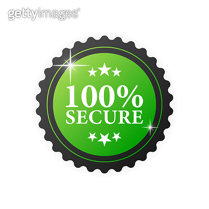 100 percent secure green rubber stamp on white background. Realistic object. Vector illustration.