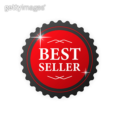 Best seller red badge. Realistic red label. Retail badge. Vector illustration.