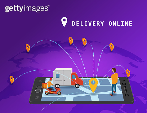 Global tracking system Delivery service online isometric design with smartphone, user man, markers, truck, scooter on map Earth. GPS navigation smart logistics and transportation concept. Vector isolated illustration web, banner, ui, mobile app