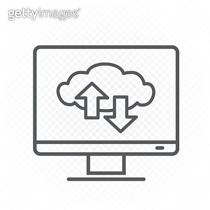 computer monitor cloud service line icon