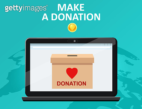 Donate online payments. Make a donation box on a laptop PC display. Charity fundraising concept. Earth background. Vector illustration isolated