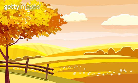 Autumn landscape rural hills meadows fields countryside. Yellow orange foliage tree panorama horizon. Vector illustration isolated