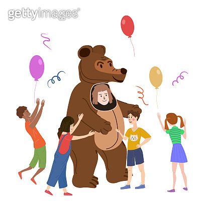 Holiday party actor entertainer wearing in costume Bear, play with kids. Performance Birhday Carnaval Party, group children with adult animator. Vector cartoon flat style illustration isolated