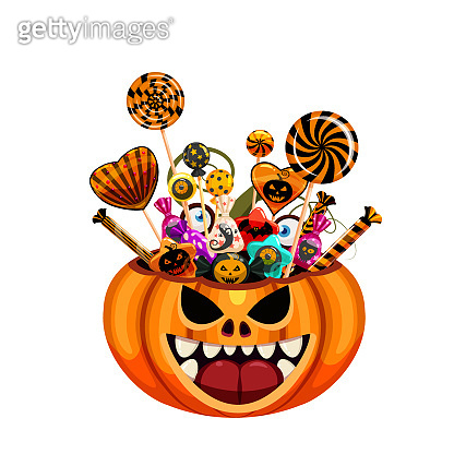 Halloween Pumpkin Bag basket full of Candies and Sweets. Autumn october holiday tradition celebration banner poster template. Vector illustration isolated