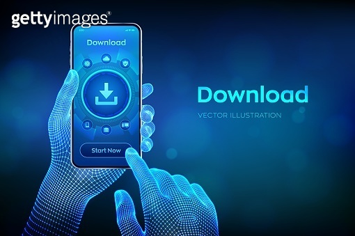 Download Data Storage. Cloud download. Install symbol. Business technology network internet concept. Closeup smartphone in wireframe hands. Vector illustration.