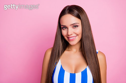 Closeup photo of adorable shiny lady perfect long straight hairstyle beaming smile wear white blue striped bodysuit isolated pastel pink color background
