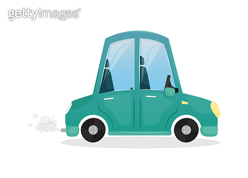 Vector illustration with a blue cartoon car. Private car.