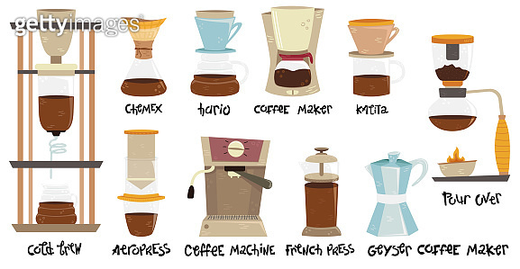 Set of 10 coffee makers for alternative methods of brewing. Coffee culture. Aeropress, hario, pour over, geyser coffee maker, cold brew, french press, kalita, chemex, coffee machine.